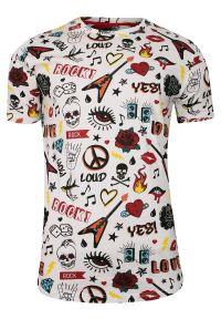 Wielokolorowy t-shirt Brave Soul z nadrukiem, krótki