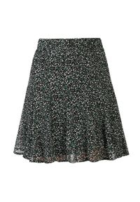 TOP SECRET - Spódnica mini w drobne kwiaty. Okazja: do pracy. Kolor: czarny. Materiał: dzianina. Wzór: kwiaty. Sezon: jesień