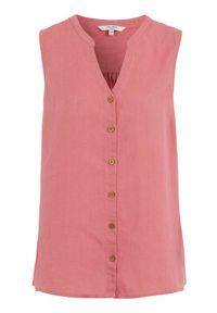 Cellbes Lniana bluzka bez rękawów różowy female różowy 54/56. Typ kołnierza: kołnierzyk stójkowy, dekolt w serek. Kolor: różowy. Materiał: len. Długość rękawa: bez rękawów