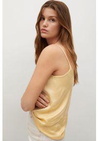 Żółta bluzka mango gładkie, casualowa, na ramiączkach, na co dzień