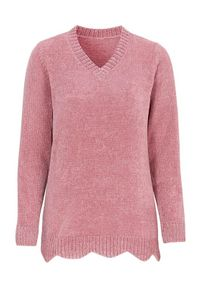 Różowy sweter Cellbes długi, z dekoltem w serek, z długim rękawem