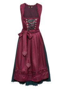 Sukienka ludowa z haftowanym fartuchem z satyny bonprix magenta - wzorzysty. Kolor: fioletowy. Materiał: satyna. Wzór: haft. Styl: elegancki