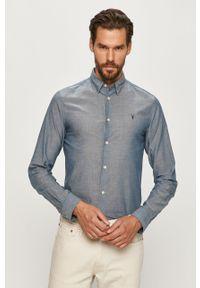 Niebieska koszula AllSaints z klasycznym kołnierzykiem, klasyczna, długa