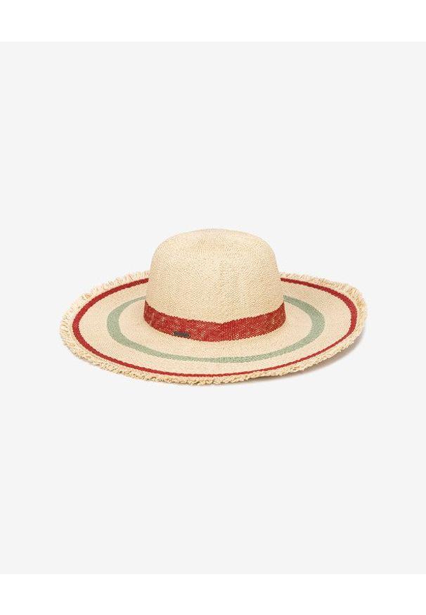 Beżowy kapelusz Roxy w kolorowe wzory
