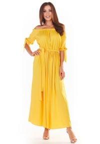 Awama - Długa Sukienka z Hiszpańskim Dekoltem - Żółta. Kolor: żółty. Materiał: wiskoza, elastan. Długość: maxi