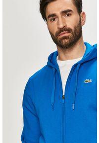 Niebieska bluza rozpinana Lacoste z kapturem, gładkie