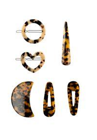 Komplet ozdób do włosów (6 części) bonprix ciemnobrązowo-kremowy
