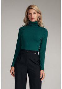 Figl - Casualowa Bluzka z Golfem - Zielona. Okazja: na co dzień. Typ kołnierza: golf. Kolor: zielony. Materiał: poliester, wiskoza, elastan. Styl: casual
