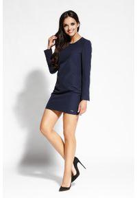 Niebieska sukienka Dursi prosta, z długim rękawem