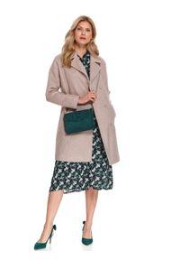 Beżowy płaszcz TOP SECRET casualowy, do pracy, z aplikacjami