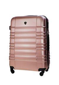 Solier - Duża walizka podróżna STL838 rose gold. Materiał: materiał