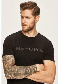 Czarny t-shirt Marc O'Polo polo, na co dzień, casualowy, z nadrukiem