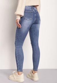 Renee - Niebieskie Jeansy Skinny Agathione. Stan: podwyższony. Kolor: niebieski. Wzór: aplikacja. Styl: klasyczny