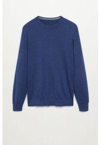 Niebieski sweter Mango Man casualowy, długi, na co dzień
