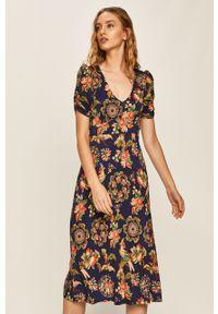 Wielokolorowa sukienka Desigual prosta, z krótkim rękawem, casualowa, na co dzień