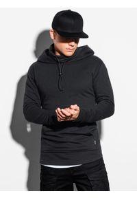 Ombre Clothing - Bluza męska z kapturem B1012 - czarna - XXL. Typ kołnierza: kaptur. Kolor: czarny. Materiał: bawełna, dzianina, poliester. Styl: elegancki #6