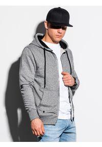 Ombre Clothing - Bluza męska rozpinana z kapturem B1223 - szary melanż - XXL. Typ kołnierza: kaptur. Kolor: szary. Materiał: poliester, bawełna. Wzór: melanż