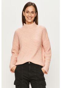 Różowy sweter Vila z okrągłym kołnierzem, na co dzień, długi
