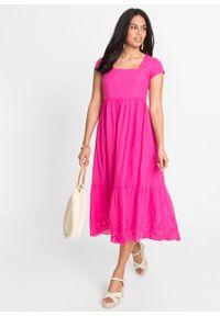 """Sukienka midi z ażurowym haftem bonprix różowy """"pinklady"""". Kolor: różowy. Wzór: haft, ażurowy. Długość: midi"""