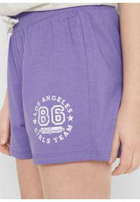 Fioletowe spodnie bonprix krótkie, sportowe, melanż