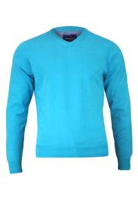 Niebieski sweter Adriano Guinari biznesowy, na spotkanie biznesowe, z dekoltem w serek