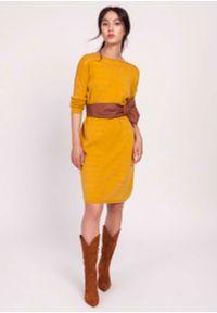 Żółta sukienka dzianinowa Lanti prosta