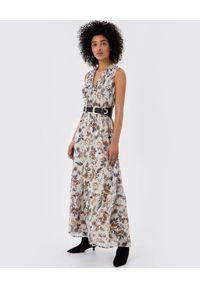 Liu Jo - LIU JO - Maxi sukienka w kwiatowy print. Kolor: beżowy. Wzór: kwiaty, nadruk. Sezon: lato, wiosna. Długość: maxi