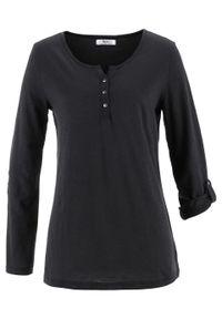 Shirt bawełniany z plisą guzikową, długi rękaw bonprix czarny. Typ kołnierza: dekolt w serek. Kolor: czarny. Materiał: bawełna. Długość rękawa: długi rękaw. Długość: długie
