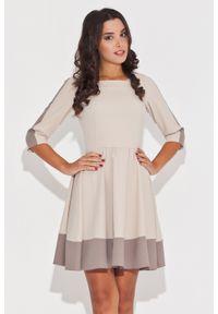 Beżowa sukienka Katrus w kolorowe wzory, elegancka