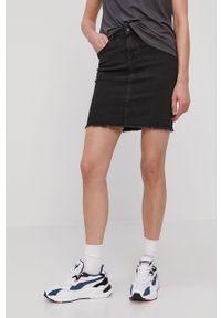 Pieces - Spódnica jeansowa. Okazja: na co dzień. Kolor: szary. Materiał: jeans. Styl: casual