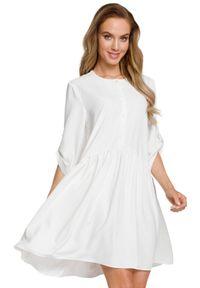 MOE - Sukienka tunika oversize z podpinanymi rękawami. Materiał: elastan, materiał. Typ sukienki: oversize