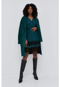 TwinSet - Twinset - Płaszcz wełniany. Okazja: na co dzień. Kolor: zielony. Materiał: wełna. Styl: klasyczny, casual
