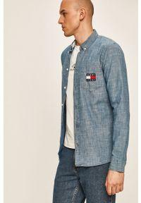 Niebieska koszula Tommy Jeans długa, casualowa, button down, na co dzień