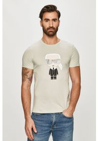 Karl Lagerfeld - T-shirt. Okazja: na co dzień. Kolor: turkusowy. Materiał: dzianina. Wzór: nadruk. Styl: casual