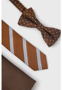 Jack & Jones - Zestaw krawat, mucha i poszetka. Kolor: brązowy. Materiał: materiał, poliester