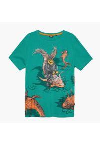 Cropp - Koszulka z nadrukiem - Turkusowy. Kolor: turkusowy. Wzór: nadruk #1