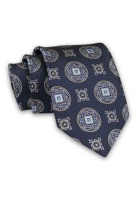 Granatowy Modny Męski Krawat -Chattier- 7,5cm, Klasyczny, Elegancki, Wzór Geometryczny. Kolor: niebieski. Materiał: tkanina. Wzór: geometria. Styl: klasyczny, elegancki