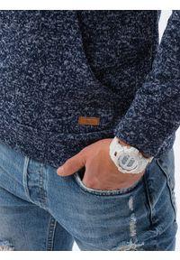 Ombre Clothing - Bluza męska z kapturem B1094 - granatowa - XXL. Typ kołnierza: kaptur. Kolor: niebieski. Materiał: materiał, poliester. Wzór: ze splotem. Styl: elegancki