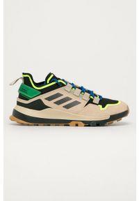 Brązowe buty trekkingowe adidas Performance na sznurówki, z cholewką