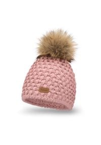 Zimowa czapka damska PaMaMi - Pudrowy róż. Kolor: różowy. Materiał: poliamid, wełna, akryl. Wzór: ze splotem, aplikacja. Sezon: zima