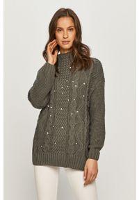 Szary sweter TALLY WEIJL z długim rękawem, długi, z aplikacjami