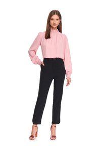 Czarne spodnie TOP SECRET w kolorowe wzory, na zimę, eleganckie, z podwyższonym stanem