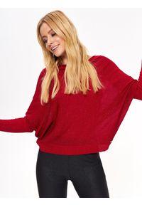 Czerwony sweter TOP SECRET casualowy, z dekoltem w łódkę