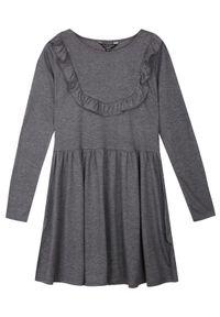 Szara sukienka TROLL casualowa, z długim rękawem, w kolorowe wzory, na co dzień