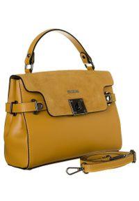 Kuferek damski żółty Badura T_D208ZŁ_CE. Kolor: żółty. Materiał: skórzane. Styl: elegancki, klasyczny