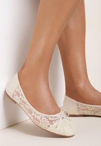 Renee - Beżowe Balerinki Sileithe. Nosek buta: okrągły. Kolor: beżowy. Materiał: materiał. Wzór: kwiaty, aplikacja. Obcas: na obcasie. Styl: klasyczny. Wysokość obcasa: niski