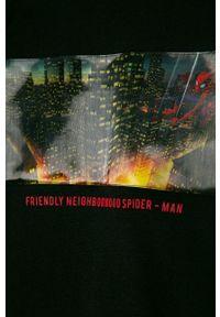 Czarna koszulka z długim rękawem OVS z nadrukiem, na co dzień, casualowa
