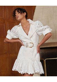 ACLER - Biała sukienka Sierra. Kolor: biały. Materiał: bawełna, len, wiskoza, koronka. Długość: mini