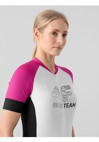 4f - Koszulka rowerowa damska. Kolor: różowy. Materiał: włókno, dzianina. Długość rękawa: raglanowy rękaw. Długość: długie. Sport: kolarstwo