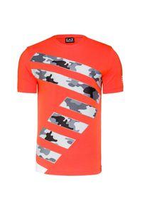 Pomarańczowy t-shirt EA7 Emporio Armani z okrągłym kołnierzem, z nadrukiem
